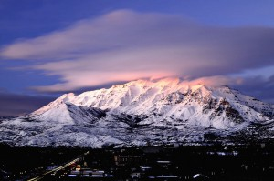 Mount Timpanogos covered with snow