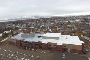 Aerial shot of new school construction in Orem