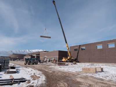Front of Cedar Valley High during construction